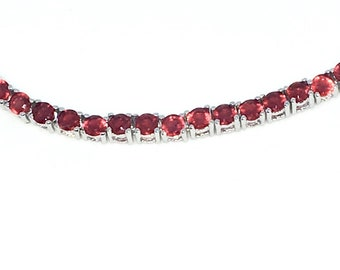 New White Gold Layered 925 Solid Sterling Silver 7 inch Four prong Large Round Red CZ Tennis Bracelet with Box Clasp
