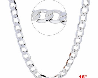 14k White gold Layer on Solid 925 Sterling Silver Curb Chain- 3.2 mm- 16""