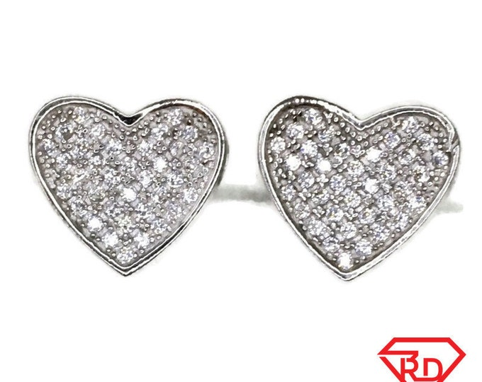 Brand New white gold on 925 Silver Studs Earrings Medium Heart with white round CZ ( 11 . 2 mm )
