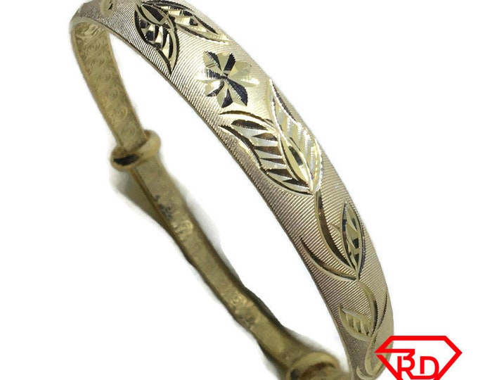 Diamond cut Rose slip in Bangle 999 Yellow Gold Layer