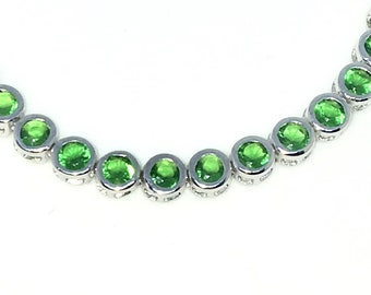 New White Gold Layered 925 Solid Sterling Silver 7 inch Bezel Large Round Green CZ Tennis Bracelet with Box Clasp