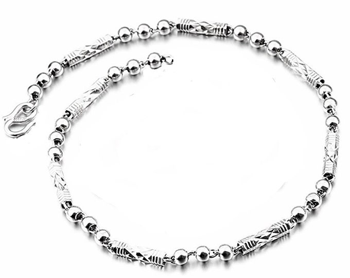 Women or Children Handmade solid .990 Fine Silver round Ball & Bar Bracelet 4 mm 6.5""