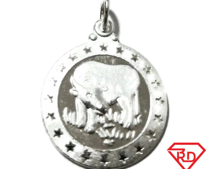 Small Chinese Zodiac Horoscope 999 fine Silver Round Year of Ox Pendant charm