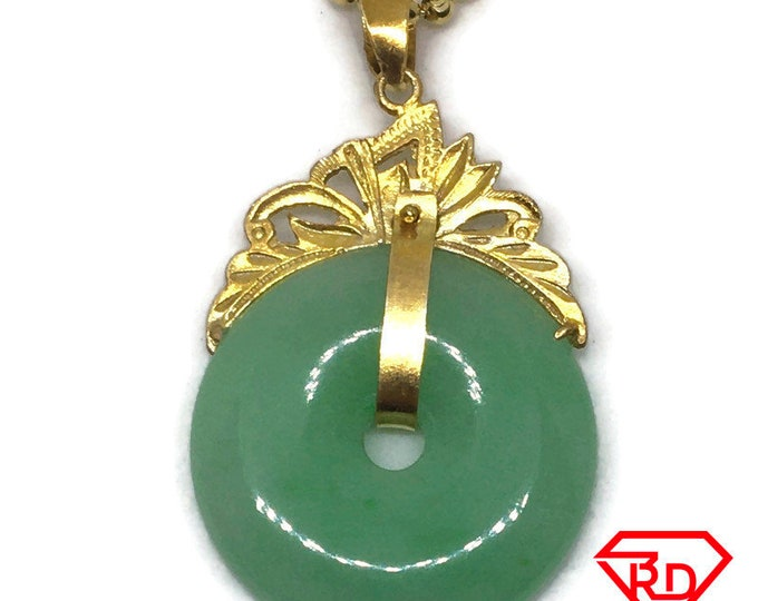 Round Halo green Jade Pendant Charm 24K Yellow gold Plated