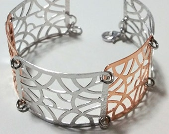 14k Rose & White Gold Layer on 925 Silver Bracelet - 3RoyalDazzy.com's Handmade Exclusive