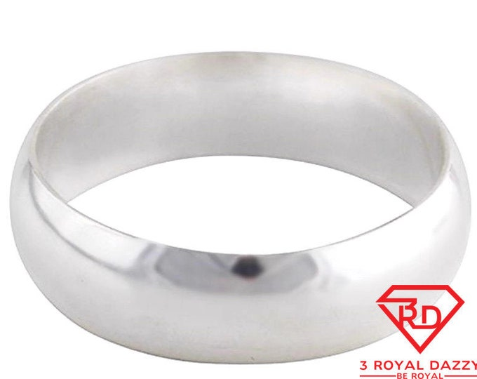 Handmade solid 999 silver high polished glossy plain wedding ring band 5 mm s-7