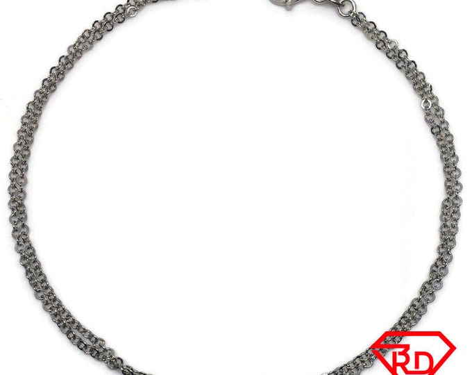 Double Chain Anklet 9 inch white gold on silver