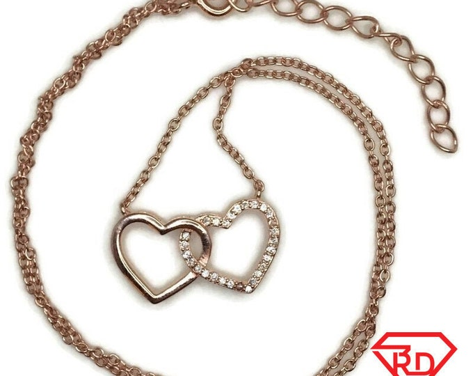 Rose Gold on Silver necklace Double Heart with round white CZ