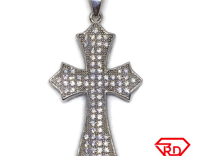 Cross with points and CZ pendant white Gold on silver
