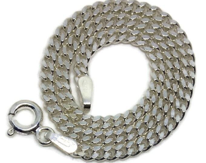 small thin curb chain 8 inch anti-tarnish silver bracelet
