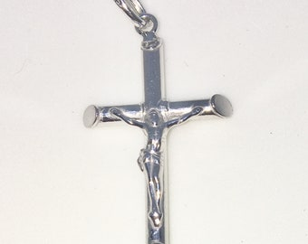New White Gold on 925 Sterling Silver Pendant Small crucifixion of Jesus Cross ( 17 . 0 mm )
