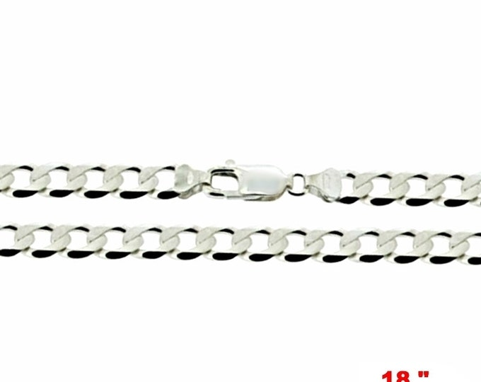 Precious Italian Sterling Silver Anti-Tarnish Curb link Chain 2.2 MM 18 ""