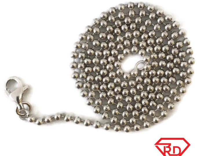 Brand New Anti-tarnish Silver Necklace 18 inch beads chain with lobsterclaw clasp