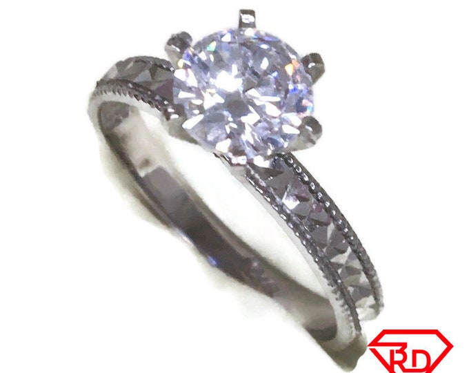 Six Prong basket CZ ring band 14K Real White gold S7