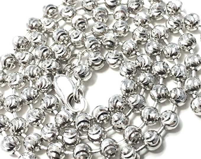 """18k white gold layered over .925 sterling silver moon cut chain 3 mm 16 """""""