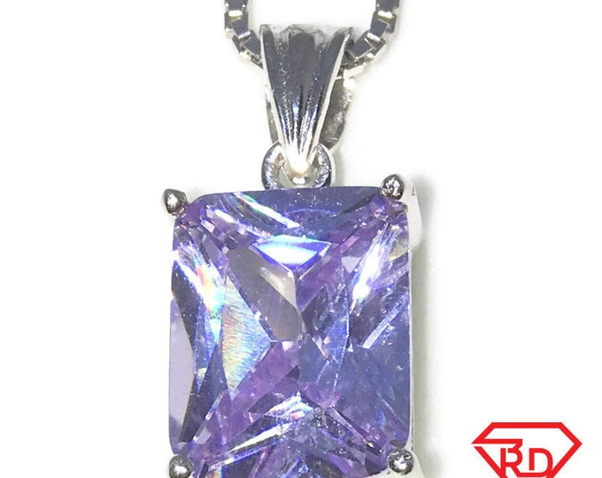 New White Gold on 925 Sterling Silver Pendant Rectangle Birthstone with Emerald cut Pink CZ and Silver 16 Inch Chain ( 9 . 5 mm )