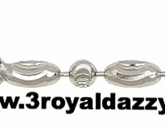 """18k white gold layered over .925 sterling silver -2 mm moon cut chain - 24 """""""