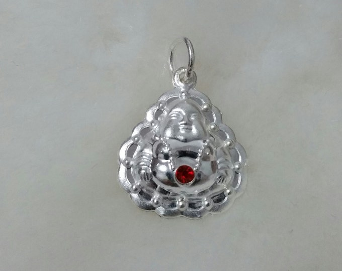 Smiling With Red Jewel Reversible Buddha .999 Solid Silver Hollow Pendant