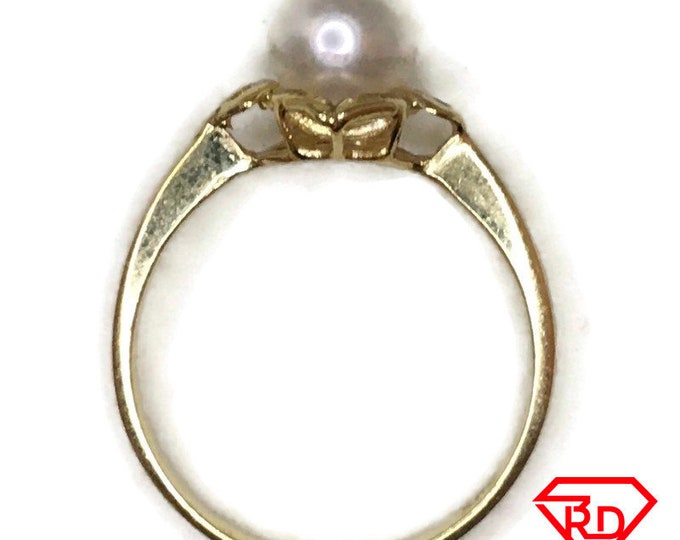 14K small ring round pearl and yellow gold