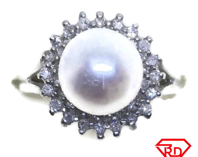 Spike Flower Diamond pearl ring 14k white gold S5