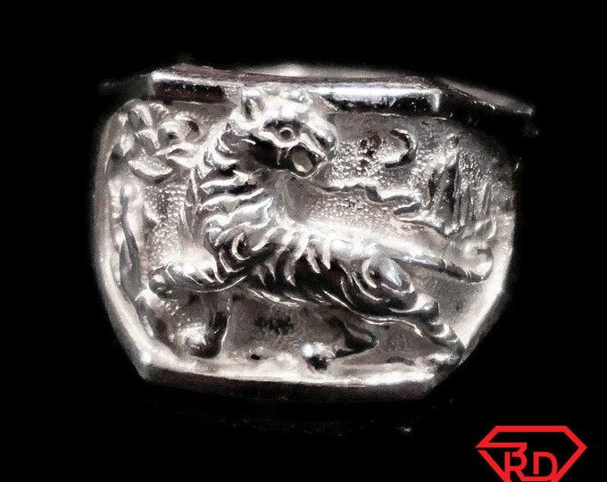 Anti Tarnished 9 2 5 Sterling Silver Men's Zodiac Tiger Ring ( Size : 7 . 7 5 )