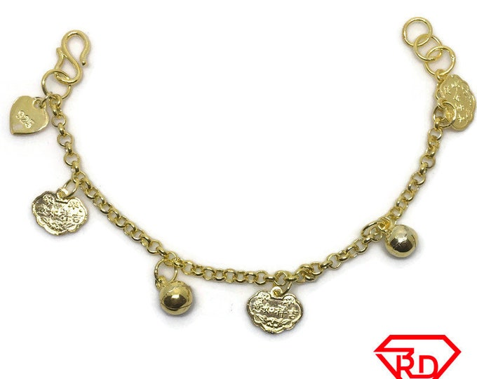 Bell & fortune charm 6 inch Bracelet 999 Yellow Gold Layer