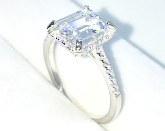 New Handcraft White Gold Plated on Sterling Silver engagement ring band with row of small white CZ & 4 prong white emerald CZ