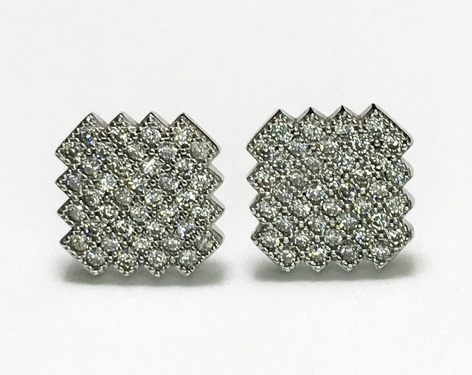 NEW 14K White Gold on 925 Sterling Zigzag Square with Stones Stud- Earrings