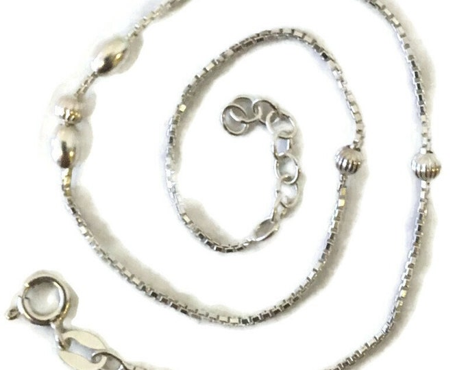 Brand New Anti-Tarnish Silver Anklet 8 inch cable and beads with spring ring clasp and 1 inch extension