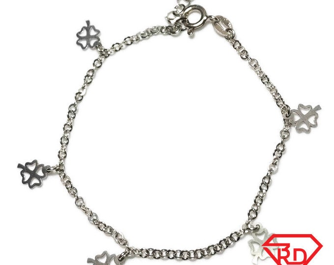 NEW Layered 14K White Gold on Sterling Silver Four Leaf Clover Bracelet