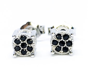 NEW 14K White Gold Layered on Sterling Silver Cube Box Earrings