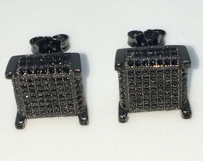 New 14k Black Gold on 925 Sterling Silver Square with Black CZ and Black CZ corners Large Studs Earrings ( 10 . 9  mm )