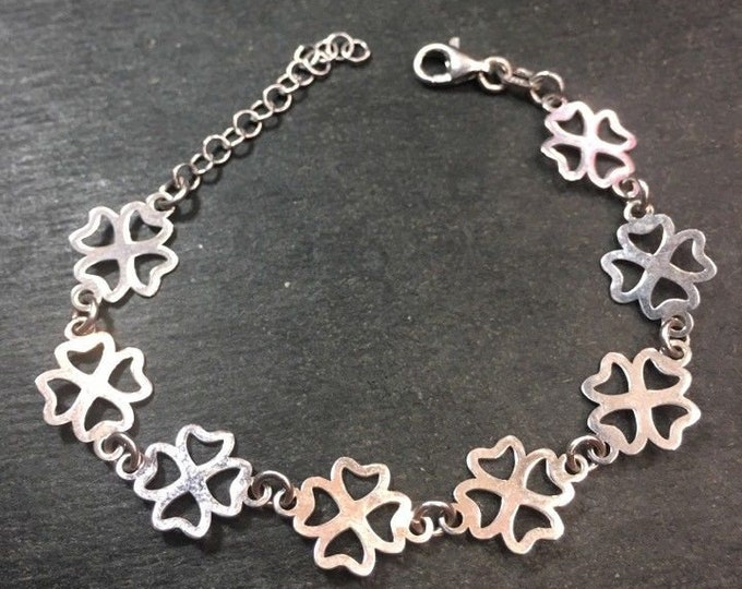 "New 14k layer on 925 silver italian 4 leaf clover lucky link bracelet 10.5mm-7"""