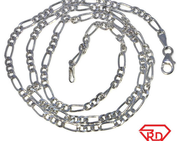 New White Gold Layered 925 Solid Sterling Silver 20 inch plain Figaro Chain Necklace with Lobsterclaw clasp
