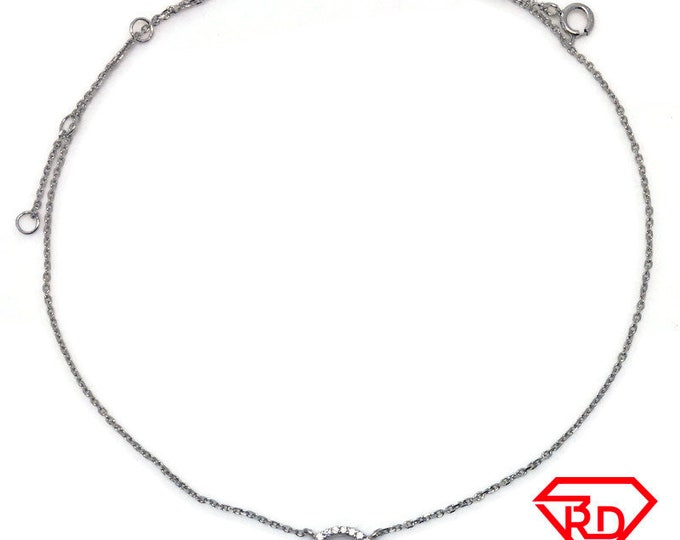 Tiny Halo CZ necklace 16 inch chain White gold layer