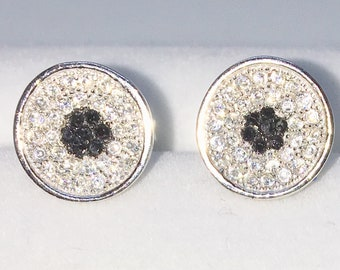 Brand New White Gold on 925 Solid Sterling Silver Indented Circle with white and black round CZ studs Earrings ( 9 . 6  mm )