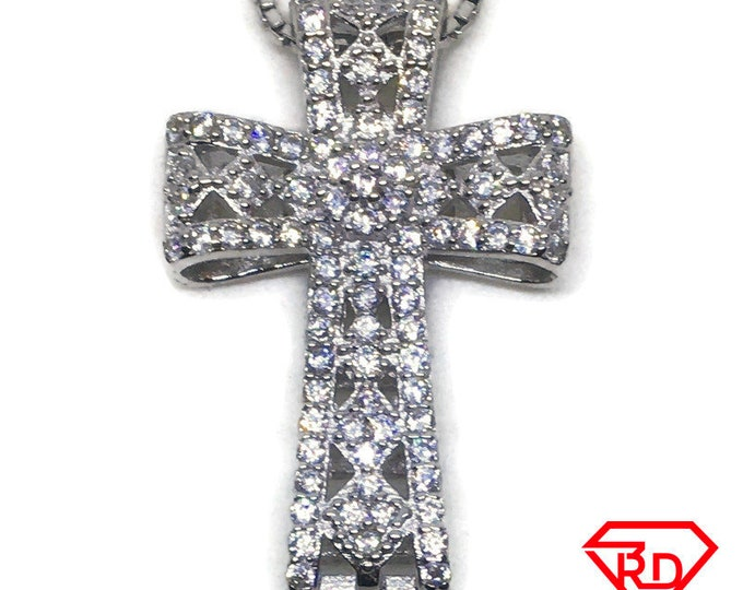 Artistic Cross CZ charm Pendant White Gold layer