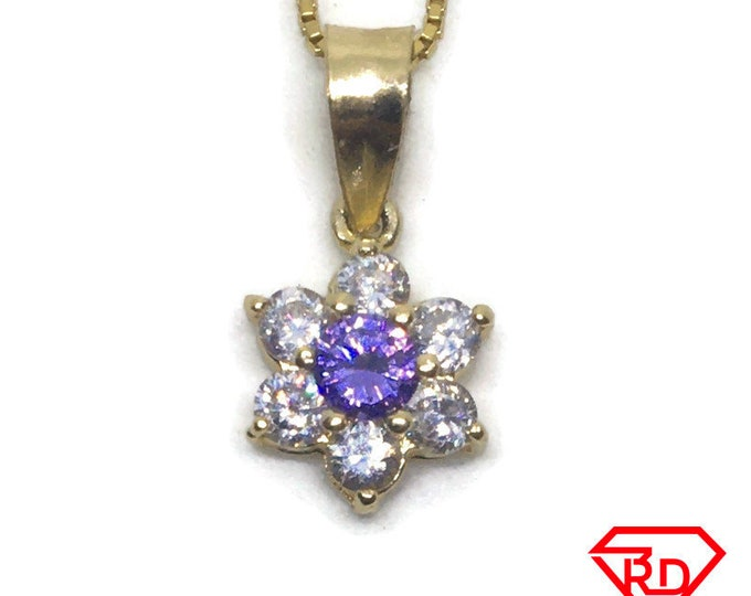 Small Flower CZ charm pendant 14k Yellow gold