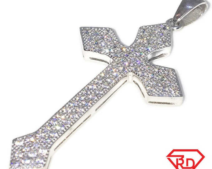 New White Gold on 925 Sterling Silver Pendant pointed Edged Cross with round white CZ ( 26 . 1 mm )