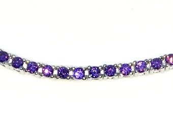 New White Gold Layered 925 Solid Sterling Silver 7 inch 4 prong Round Purple CZ Tennis Bracelet with Box Clasp