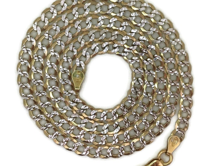 Yellow gold layer on silver necklace flat diamond cut curb chain