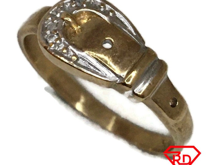 Diamond on belt buckle ring with 10K yellow gold