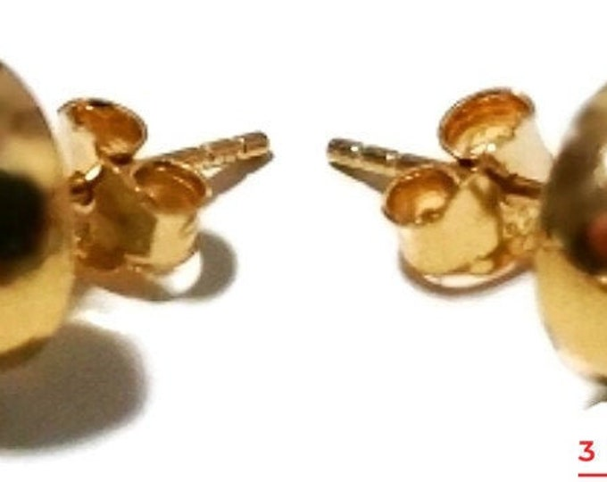 14k yellow gold layer on silver 10mm half round flat ball stud earring