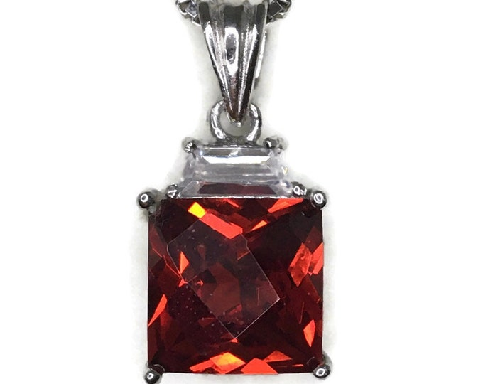 Garnet January Birthstone Pendant princess Cubic Zirconia and white gold