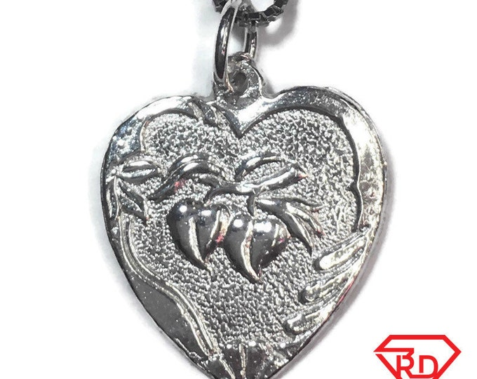 "New 925 Silver Chinese Character Writing ""Longevity"" and  plum Heart Charm Pendant Reversible Design"