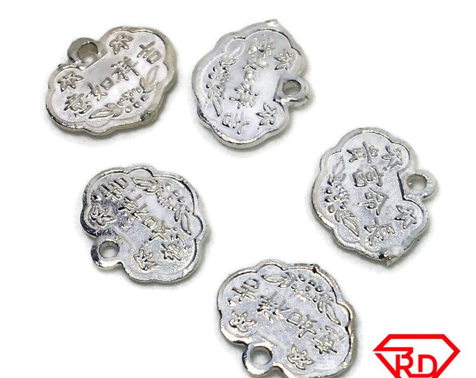 Handcraft tiny chinese charm 5 pcs jewelry making 925 Solid Silver
