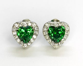 NEW .925 Sterling Silver Heart Shaped with Green Stone Stud Earrings
