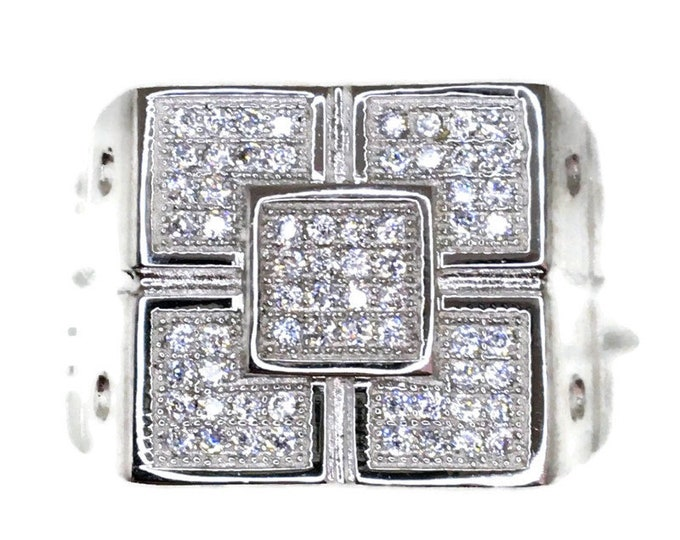Cubic Zirconia ring 5 squares white gold on Silver ( size 9 )