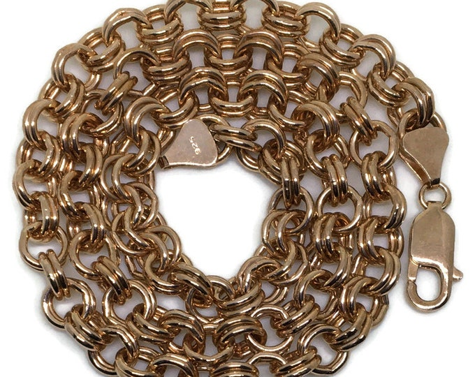 double ring chain 18 inch Rose gold on silver necklace