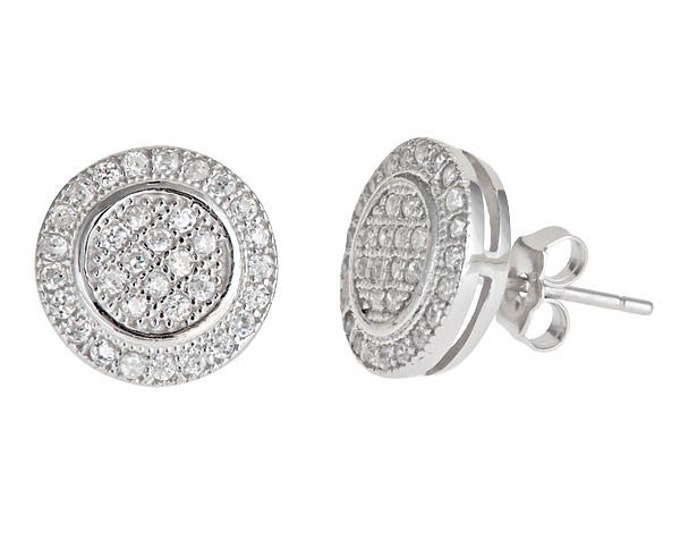 Halo round multi micro CZ stones .925 Sterling Silver Stud Earrings
